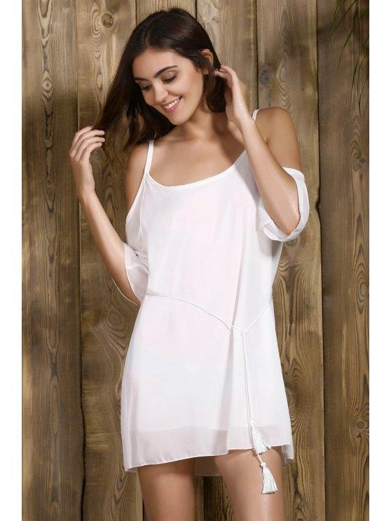 Cold Shoulder Slip Rope Belt Dress - WHITE M Mobile
