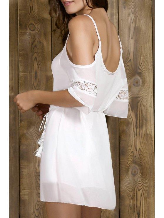 Vestido con hombros con cordones de correas espaguetis corto Sleeeve - Blanco M