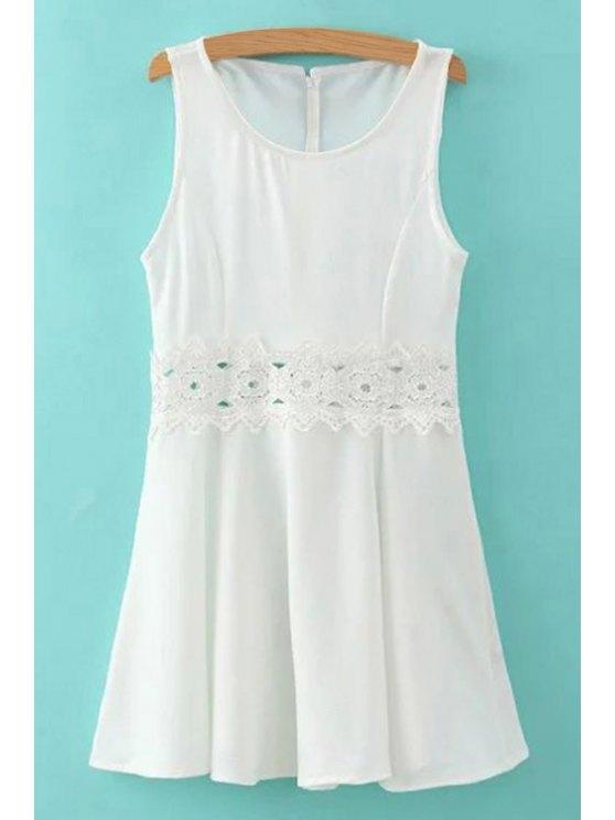 hot Lace Spliced Round Collar Sleeveless Mini Dress - WHITE S