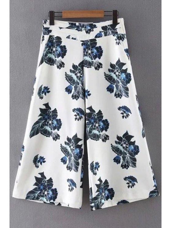 Floral Print Pantalón de pierna ancha - Blanco M
