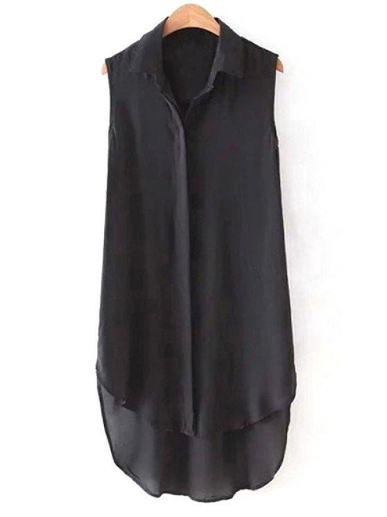 shops High Low Hem Shirt Collar Sleeveless Shirt - BLACK S