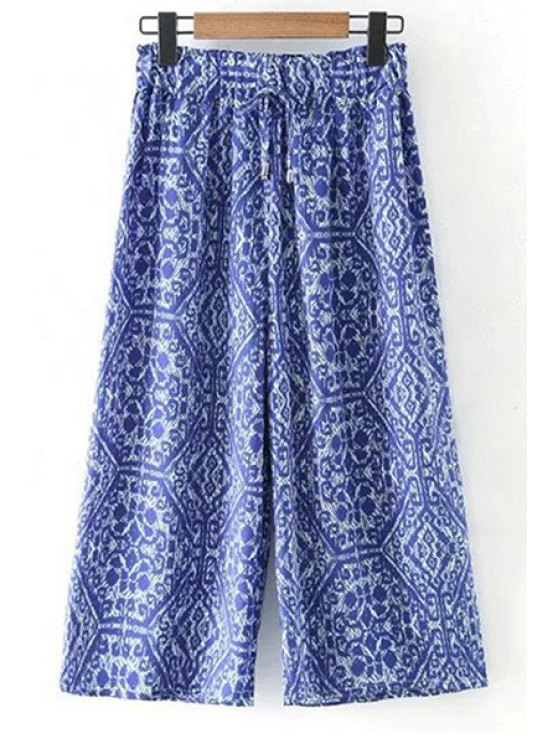 shop Printed Elastic Waist Wide Leg Pants - BLUE M