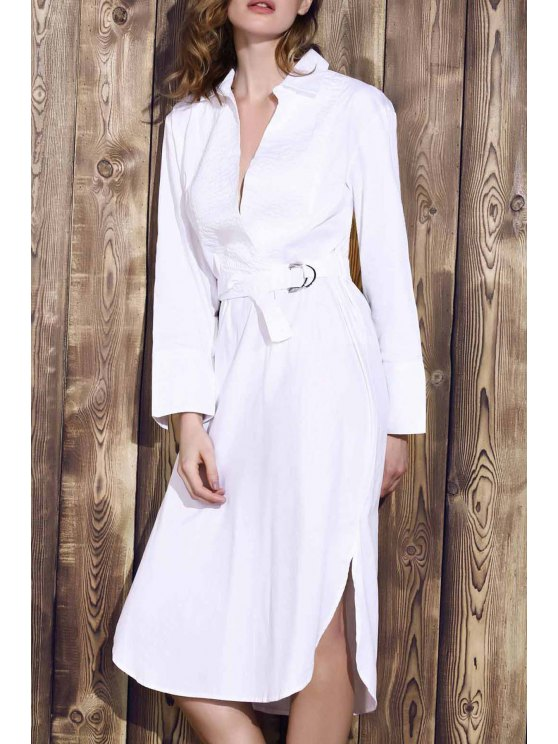 fashion Bowknot Solid Color Turn-Down Collar Long Sleeve Dress - WHITE M