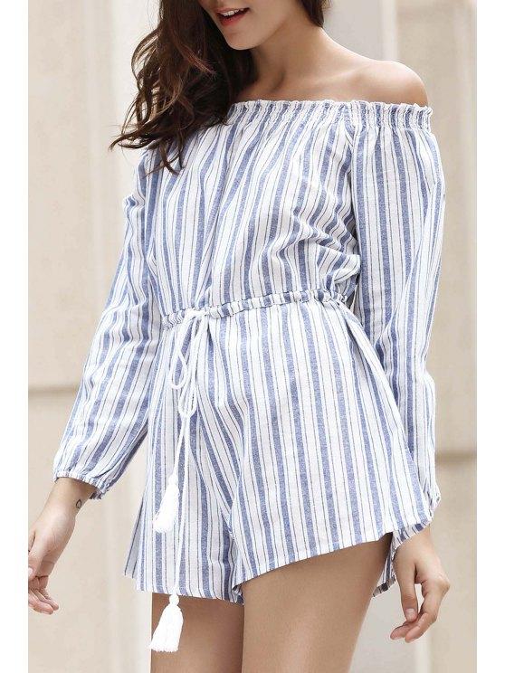 shop Off-The-Shoulder Striped Playsuit - BLUE S