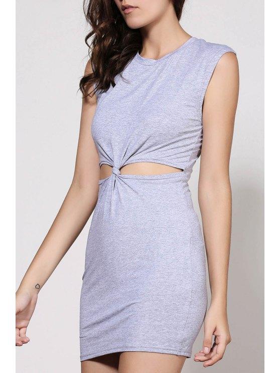 Waist Tie Knot Openwork Sleeveless Dress - GRAY L Mobile