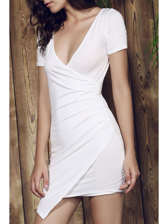 Plunging Collar Asymmetrical Bodycon Dress - WHITE L Mobile