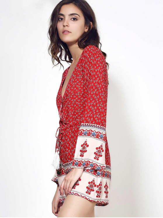 Long Sleeve Red Print Romper - WINE RED M Mobile