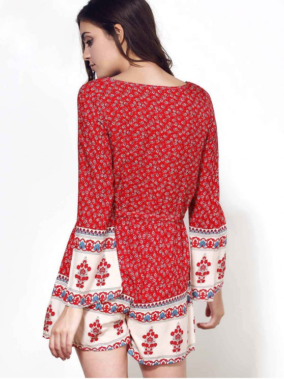 Long Sleeve Red Print Romper - WINE RED S Mobile