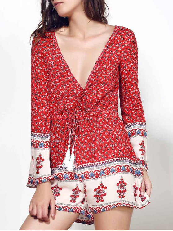 lady Long Sleeve Red Print Romper - WINE RED M