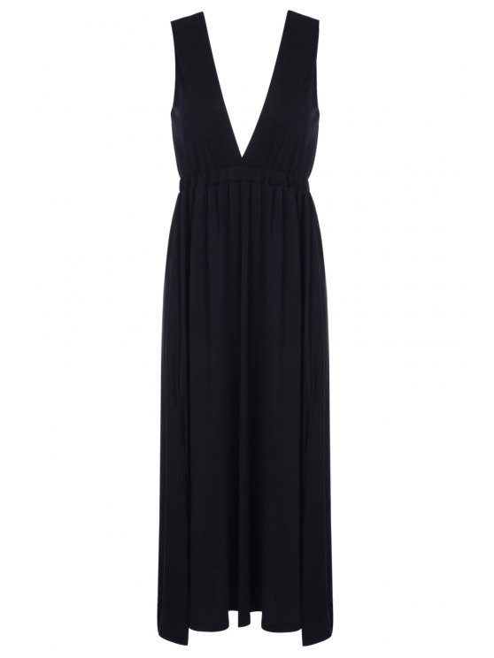 womens Plunging Neck Black Backless Sleeveless Dress - BLACK S