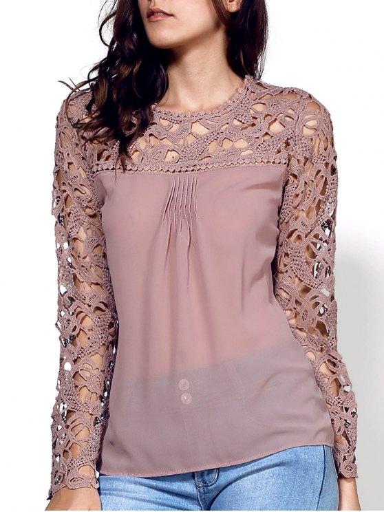 fashion Lace Embroidery Long Sleeve Spliced Blouse - KHAKI S