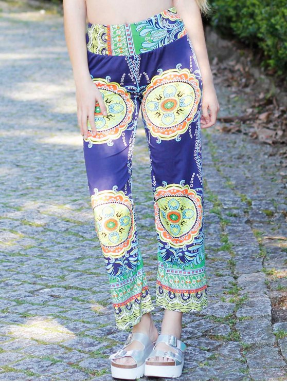 Stylish Mid-Waisted Printed Loose-Fitting Women's Exumas Pants - COLORMIX S Mobile