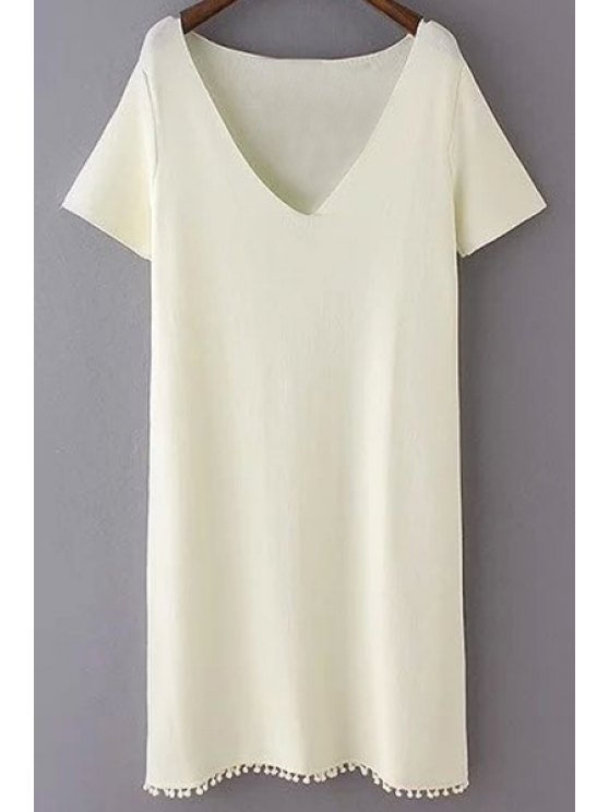 lady Pure Color Plunging Neck Short Sleeves Dress - WHITE M