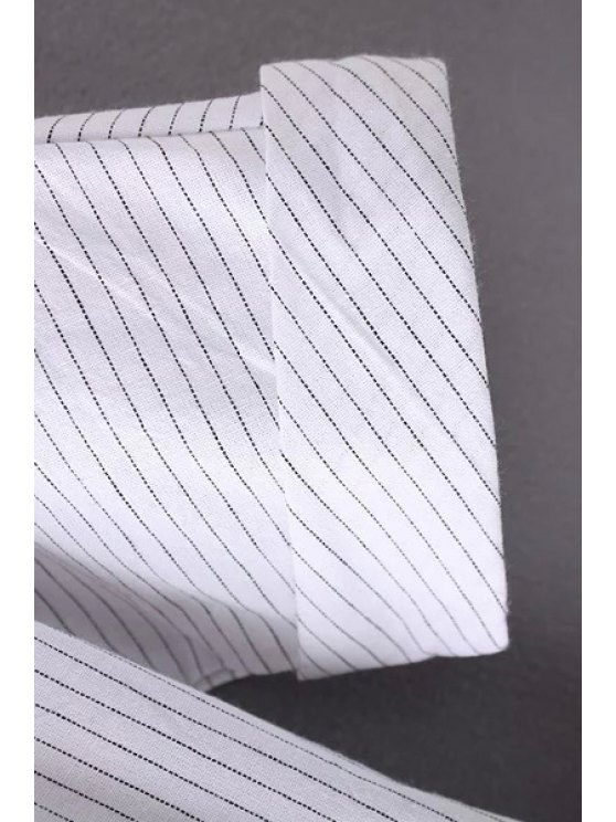 Striped Turn Down Collar Short Sleeves Dress - STRIPE M Mobile