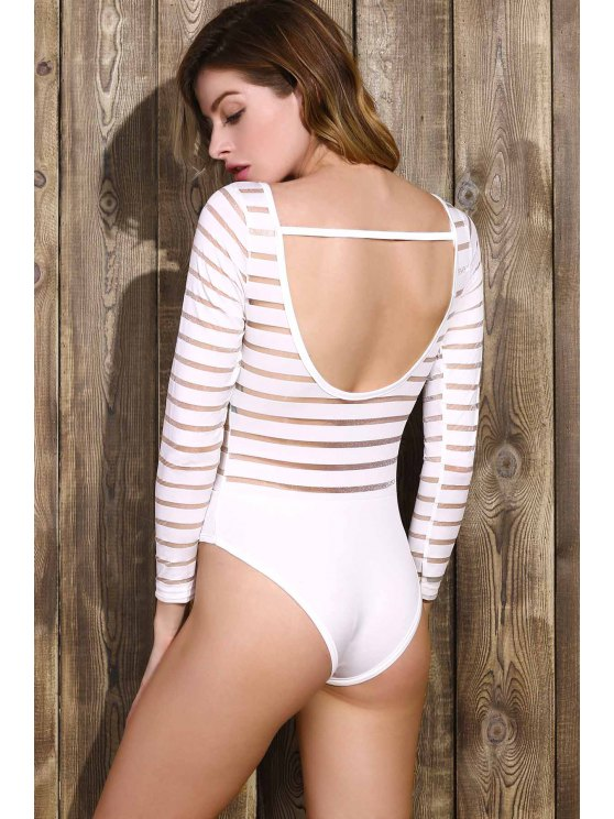 Solid Color See-Through Round Neck Long Sleeve Bodysuit - WHITE M Mobile
