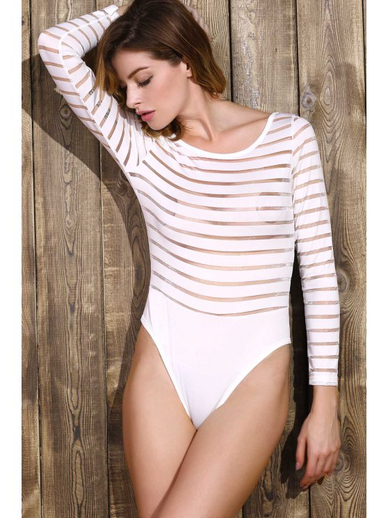 Solid Color See-Through Round Neck Long Sleeve Bodysuit - WHITE XL Mobile