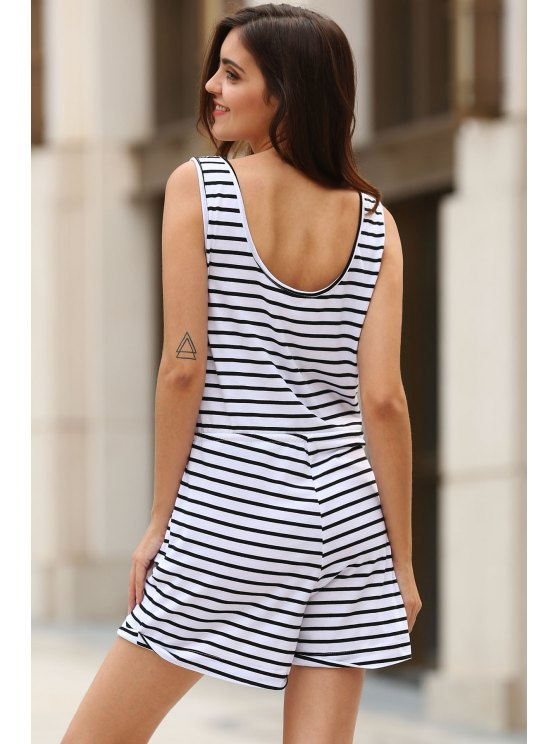 Belted Striped Scoop Neck Sleeveless Playsuit - WHITE S Mobile