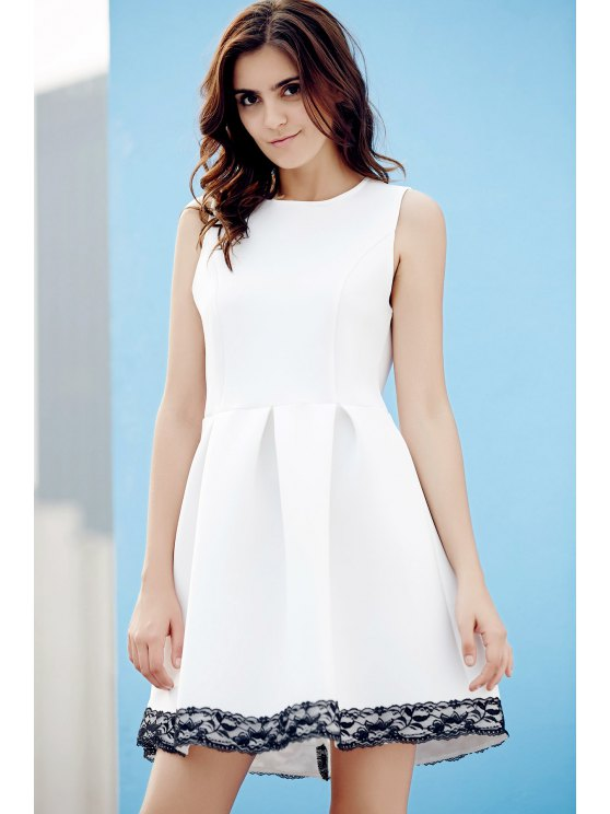 Lace Splice Round Neck Sleeveless Flare Dress - WHITE L Mobile