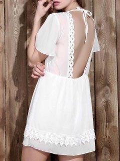 V Neck Backless Lace Insert Dress - White Xl
