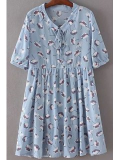 Drawstring Printed Stand Neck Short Sleeve Dress - Light Blue