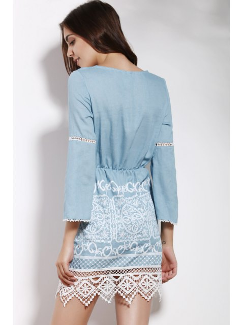 lady Lace Spliced V Neck 3/4 Sleeve Dress - BLUE S Mobile
