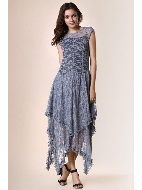 trendy Irregular Hem Lace Prom Dress - GRAY M Mobile