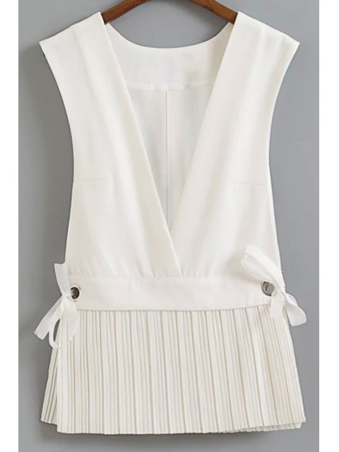 affordable Low Cut Pleated Hem Waistcoat - WHITE S Mobile