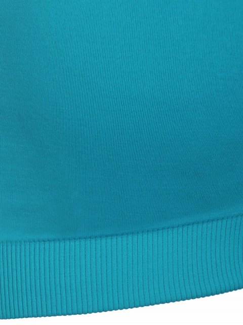 latest Shirred Front Sports Bra - BLUE S Mobile