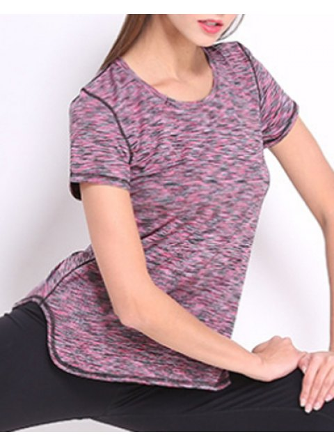 latest Exposed Seams Quick Dry Top - PURPLE XL Mobile