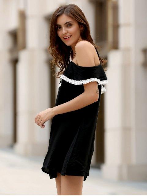 best Mini Off The Shoulder Flounce Dress - BLACK L Mobile