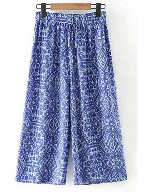 shops Printed Elastic Waist Wide Leg Pants - BLUE L Mobile