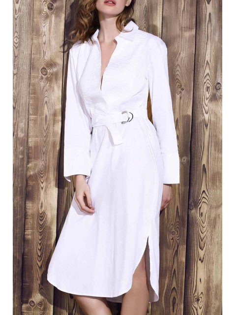 fashion Bowknot Solid Color Turn-Down Collar Long Sleeve Dress - WHITE M Mobile