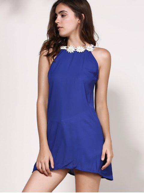 new Floral Jewel Neck Backless Sleeveless Dress - PURPLISH BLUE L Mobile
