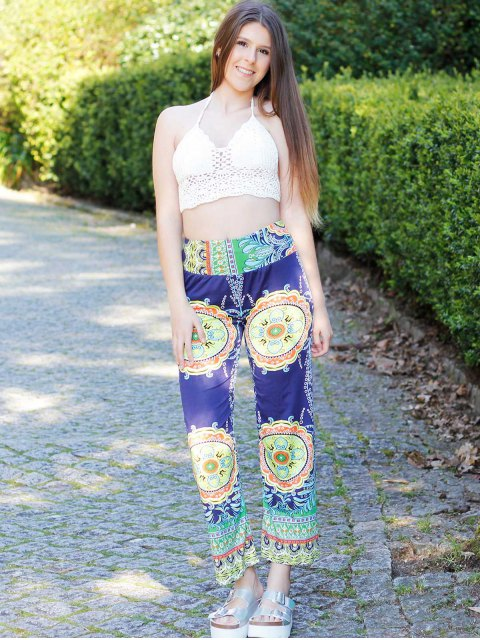fashion Stylish Mid-Waisted Printed Loose-Fitting Women's Exumas Pants - COLORMIX M Mobile