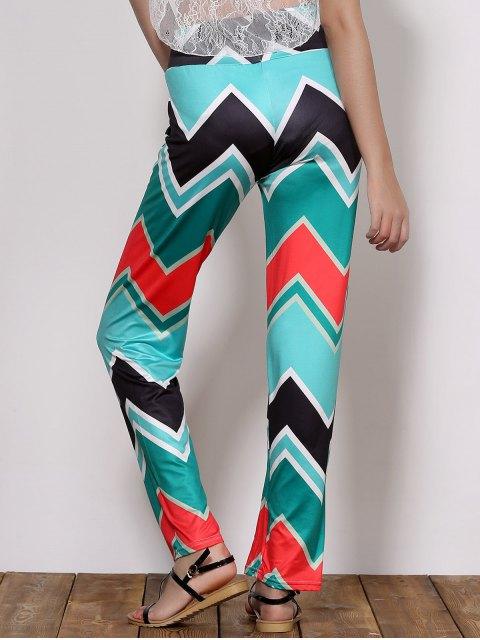 Pantalons Chics Imprimé Vague Taille Naturelle Pour Femmes - Vert M Mobile