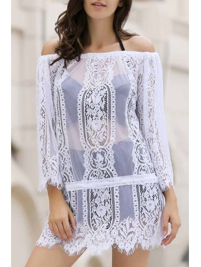 White Lace Off The Shoulder Cover Up - White One Size(fit Size Xs To M)