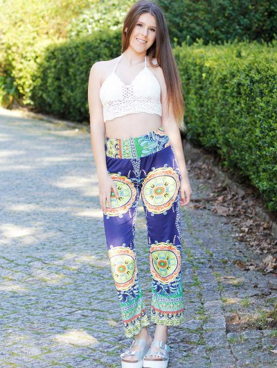 Stylish Mid-Waisted Printed Loose-Fitting Women's Exumas Pants - COLORMIX M Mobile