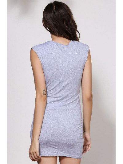 Waist Tie Knot Openwork Sleeveless Dress - GRAY XL Mobile