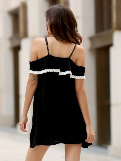 Mini Off The Shoulder Flounce Dress - BLACK L Mobile