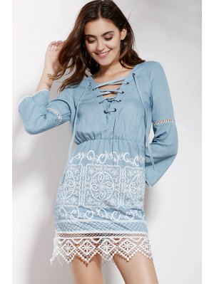 Lace Spliced V Neck 3/4 Sleeve Dress - Blue