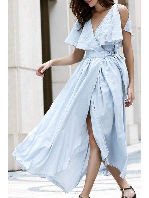 High Slit Flounce Ruffles Plunging Neck Sleeveless Dress - Light Blue
