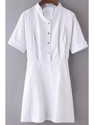 Striped Turn Down Collar Short Sleeves Dress - Stripe