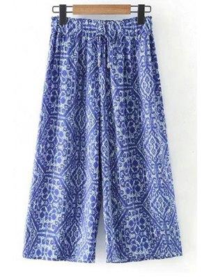 Printed Elastic Waist Wide Leg Pants - Blue