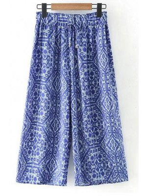 Printed Elastic Waist Wide Leg Pants - Blue