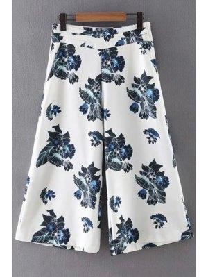 Floral Print Wide Leg Pants - White