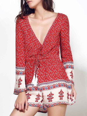 Long Sleeve Red Print Romper - Wine Red