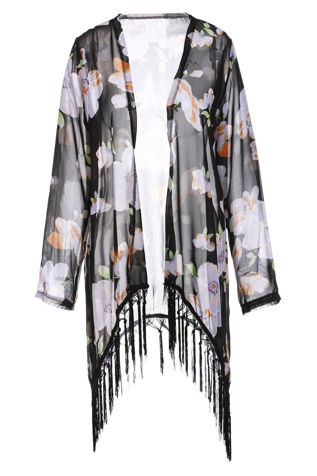 Collarless Tassel Splicing Floral Long Sleeve Kimono