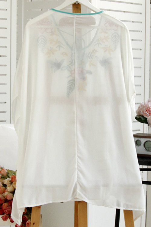 Beach Embroidery Scoop Neck Bat-Wing Sleeve Cover - WHITE ONE SIZE(FIT SIZE XS TO M)