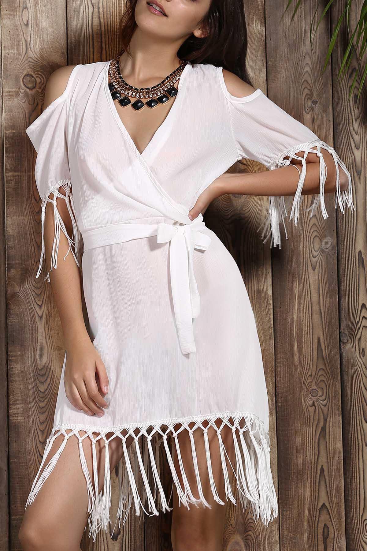 V Neck Short Sleeve Tassels Cold Shoulder Dress