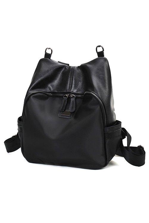 PU Leather Splicing Black Satchel - BLACK